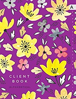 Client Book Alphabetical: 8.5 x 11 Large Hair Stylist Notebook Organizer with Alphabet Sections | Watercolor Flower Leaf Design Purple