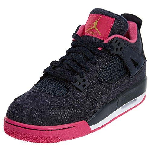 Nike Nike Damen Air Jordan 4 Retro GG Laufschuhe, schwarz Gelb Rosa Drk Obsdn Mtllc Gld VVD Pnk Wh, 37.5 EU