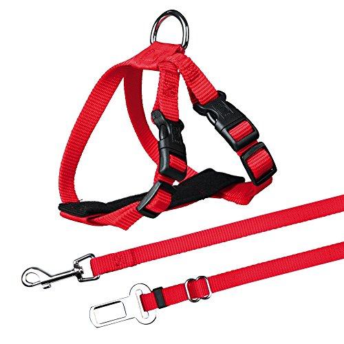 Trixie Imbracatura e Cintura di Sicurezza per Gatti, 20–50cm, Rosso