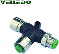VELLEDQ Industrial Field-wireable M12 T Type Splitter Sensor Fittings 4-Pin Male to 3-Pin Female A-Coding Circular Connector