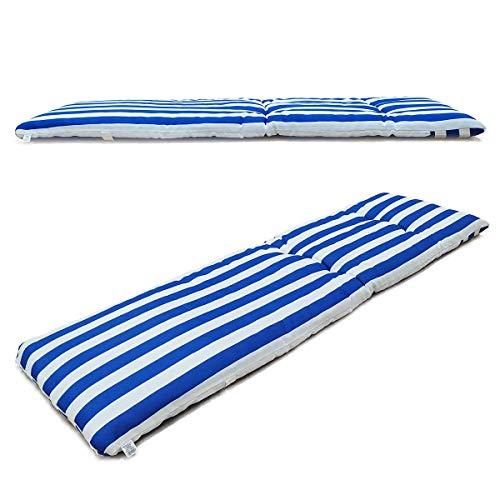 1 cojín colchón para Tumbona o Mueble para Jardín, Playa… + Bolsa AL VACÍO Reutilizable (Medidas 180 x 50 x 6 cm). Diseño Rayas Azul Y Blancas. Cama.
