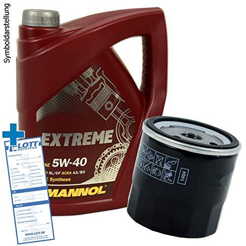 Ölwechsel Set Inspektion 5 Liter Motoröl Mannol Extreme 5W-40 Öl + Ölfilter + Verschlussschraube Öl Ablassschraube