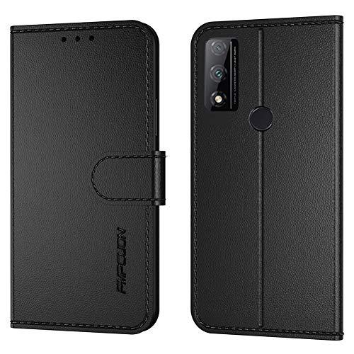 FMPCUON Handyhülle Kompatibel mit Huawei P Smart 2020(Neueste),Premium Leder Flip Schutzhülle Tasche Hülle Brieftasche Etui Hülle für Huawei P Smart 2020,Schwarz