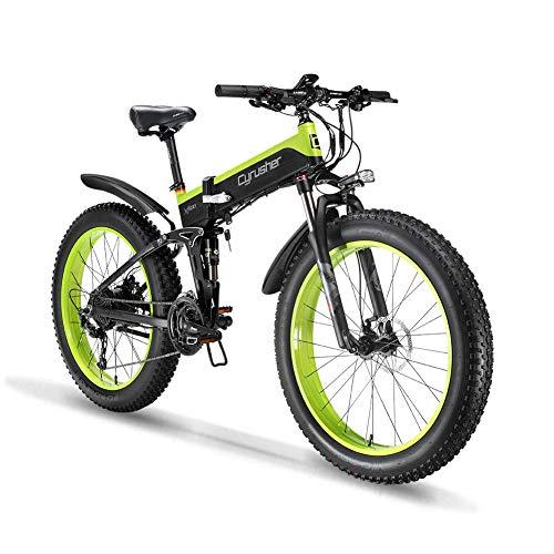 Cyrusher XF690 1000w Electric Bike Fat Tire Mountain Ebike Folding Electric Bike for Adults (Green)