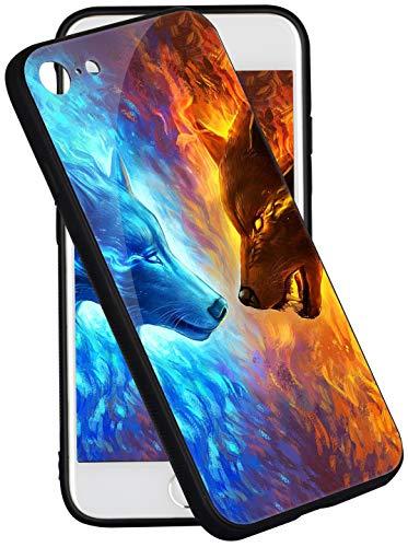 Pricetail iPhone 8 Case iPhone 7 Case Anti-Drop TPU Bumper Hard PC Scratch-Proof Tempered Glass Protector Cover Fit iPhone 8 Cases iPhone 7 Cases for Men Kids Boys Ice Wolf VS Fire Wolf Phone Case
