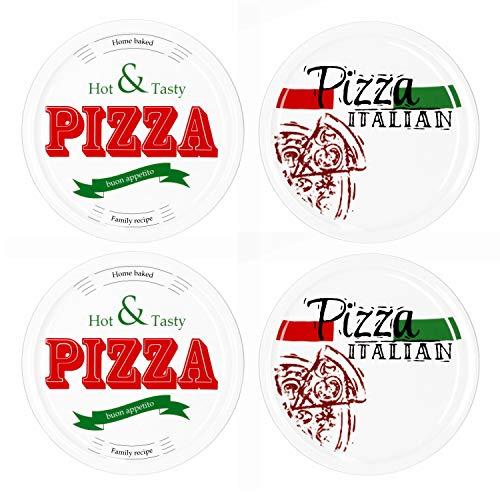 MamboCat 4-er Set Pizzateller Ø 30cm Motive Pizza Italian + Hot & Tasty I große weiße Teller aus Steingut zum Anrichten für Pizza und Co oder als Steingutplatten zum Servieren von Wurst und Käse