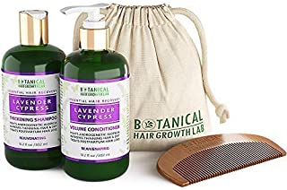 Botanical Hair Growth Lab Anti Hair Loss Alopecia Postpartum DHT Blocker Shampoo and Conditioner Value Set Lavender - Cypress Hair Growth Botanical For Hair Thinning Prevention