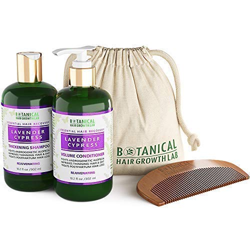 BOTANICAL HAIR GROWTH LAB - Shampoo and Conditioner Gift Set - Lavender Cypress - Essential Hair Recovery - Sensitive Scalp / Rejuvenating - For Hair Loss Prevention Alopecia Postpartum DHT Blocker