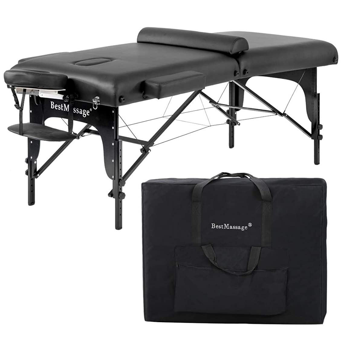 Massage Table Massage Bed Spa Bed 77 Inches Long 30 Inches Wide Heigh Adjustable 2 Fold 3 Inchs Density Sponge PU Portable Massage Table Bed w/Carry Case Facial Cradle Salon Tattoo Bed