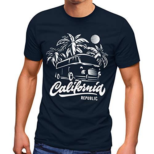 Neverless Herren T-Shirt California Surf Retro Bus Abenteuer Urlaub Palmen Slim Fit Navy 3XL
