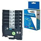 Fimpex Compatibile Cassetta 1/2' (12mm) Sostituzione Per Brother GL-100 200 200VP H100 H105 H105VP PT-1000 1000P 1005BTS 1005F 1005FB 1010 1080 1090 1230PC 1260VP 1280 TZ131 (Nero su Chiaro, 5-Pack)