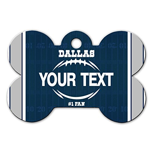 BleuReign(TM Personalized Custom Name Football Dallas License Plate Bone Shaped Metal Pet ID Tag with Contact Information