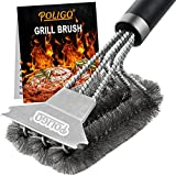 POLIGO Safe Grill Brush and Scraper with Deluxe Handle - 18' Grill Cleaner Brush Stainless Steel Bristle Grill Brush for Outdoor Grill Wizard Grate - BBQ Brush for Grill Cleaning Ideal Grilling Gifts