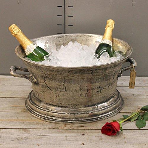 Moyar Champagne Ice Bath Cast Aluminium Vintage Distressed Finish Wine Cooler Bucket