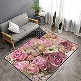 Bouquet de roses en fleurs et roses - Très doux - Pour le salon, la chambre à coucher - 120 x 182 cm, bleu, 60x91cm(36'x24')