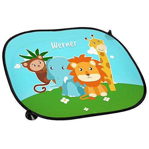 Auto-Sonnenschutz mit Namen Werner und Zoo-Motiv mit Tieren für Jungen | Auto-Blendschutz | Sonnenblende | Sichtschutz