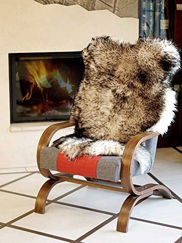 Pioniers Verkauf XXL Natur Schaffell Lammfell Fell-Teppich pflanzlich gegerbt Ideal als Deko im Kinderzimmer, Schlafzimmer, Wohnzimmer silbern-stracciatella 110-130 cm (120-130 cm)