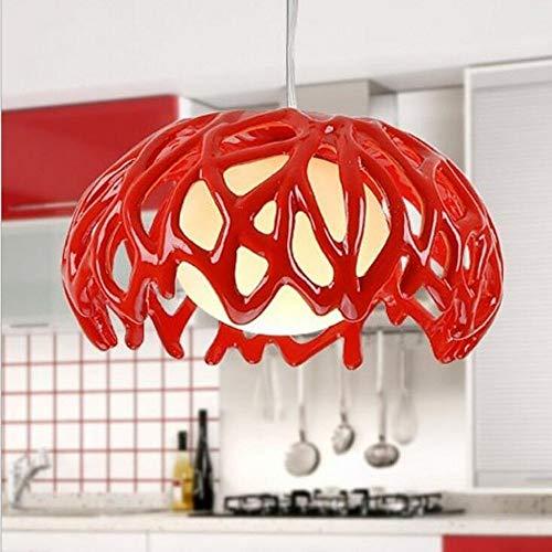 BaiXing Rund Verziert Pendelleuchte POP Hängelampe LOFT Innenlampe Moderne Minimalist Junge Stil Essen Lampe Kugelpendel Flur Epoxidharz Hängelampe Weiß Rot 1 * E27 ø35cm, Weiss (Color : RED)