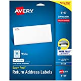 Avery Return Address Labels with Sure Feed for Inkjet Printers, 0.5' x 1.75', 2,000 Labels, Permanent Adhesive (8167),White