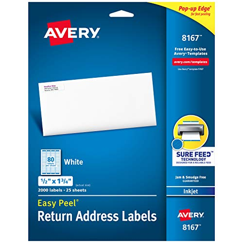 """Avery Return Address Labels with Sure Feed for Inkjet Printers, 0.5"""" x 1.75"""", 2,000 Labels, Permanent Adhesive (8167),White"""