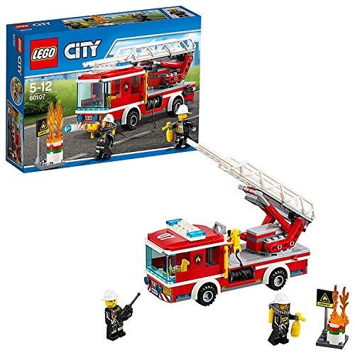 LEGO City 60107 - Feuerwehrfahrzeug mit fahrbarer Leiter, Cooles Spielzeug für Kinder