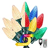 Brizled Christmas Lights, 33ft 50 LED C9 Color Changing Christmas String Lights, 11-Function Warm White & Multicolor 24V Adapter Plugin Christmas Tree Lights with Remote for Xmas Tree Party Decoration