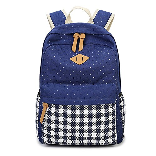DoubleMay Fashion Mädchen Schulrucksack Damen Canvas Rucksack Teenager Baumwollstoff Punkte Schultasche Daypacks für Universität Outdoor Freizeit (Dunkel Blau-Punkte)