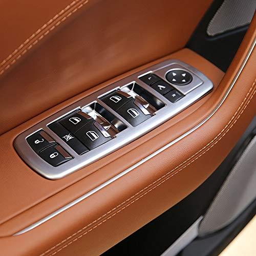 YIWANG Car Door Window Lift Switch Button Trim 4Pcs Accessories For Maserati Levante 2016 2018 Ghibli 2014-2016 Quattroporte 2013-2016 (Silver)