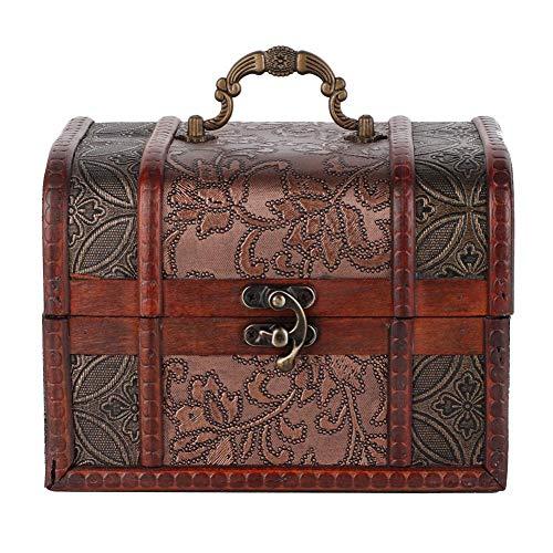 Pongnas Mini antieke schatkist houten handgemaakte doos met metalen slot opslag sieraden opbergdoos geschenkdoos