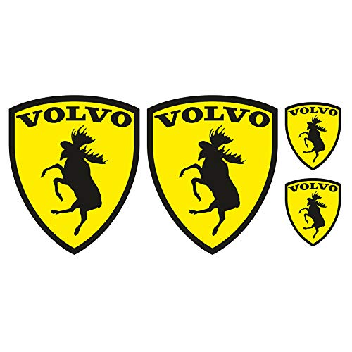 Finest Folia Set van 4 eland-emblemen, stickers voor auto, leuke sticker, autosticker, zelfklevende folie, wasstraatbestendig, accessoires, logo Zweden (R067)