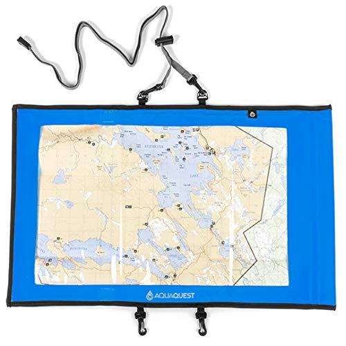 Aqua Quest Trail Map Case – 100% étanche et support pour sac étanche avec fenêtre transparente de document Lanyard, bleu