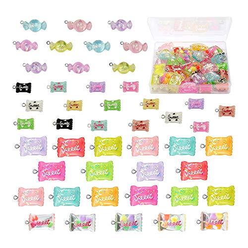 47 ciondoli a forma di caramella dolce con scatola, in resina, per realizzare portachiavi fai da te, bracciali, collane, orecchini, artigianato, regalo per bambini (47 pezzi)