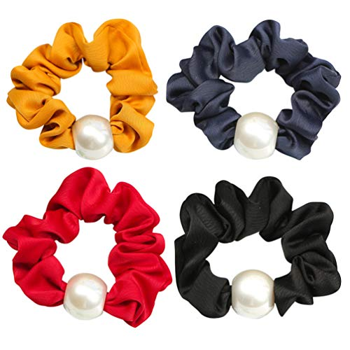 PIXNOR 4 Pcs Chouchou Perle Chouchous Élastique en Mousseline de Soie Cravates de Cheveux Élégant Couleur Unie Détenteurs de Queue de Cheval pour Les Femmes