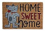 KOKO DOORMATS felpudos Entrada casa Originales, Fibra de Coco y PVC, Felpudo Exterior Perro Home Sweet Home, 40x60x1.5 cm | Alfombra Puerta Entrada casa Exterior | Felpudos Divertidos para Puerta