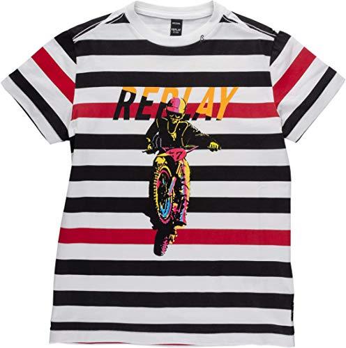 REPLAY Regular Fit Maglietta, Multicolore (Striped Black/White/Fuxia 010), 6 Anni Bambino