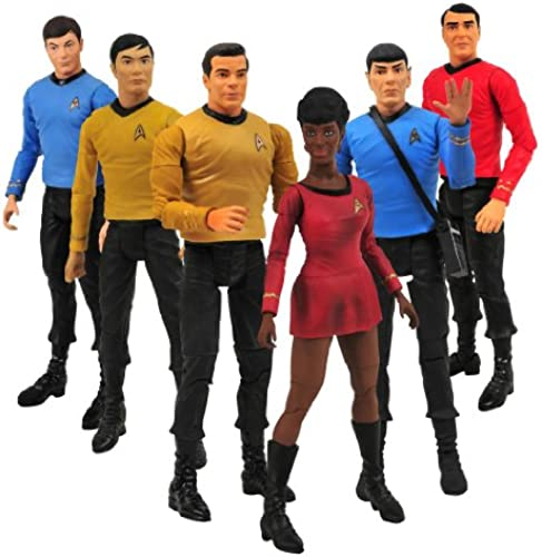 Star Trek TOS 6 Actionfiguren Set, Kirk, Spock, Uhura, Scotty, Pille...