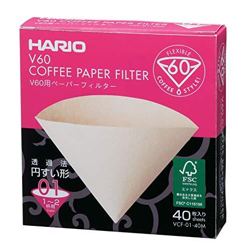 Filtro De Papel Natural Para Coador De Café V60, Tamanho 01, Caixa Com 40 Hario 0 Marrom