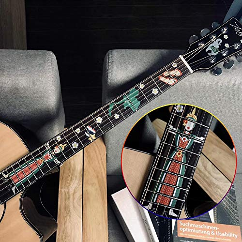 AKDSteel Pegatinas para diapasón de guitarra eléctrica, pegatinas para señalización de guitarra,...