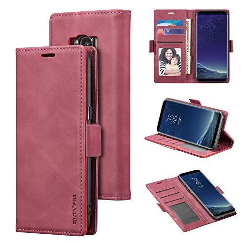 QLTYPRI Funda para Samsung Galaxy S8, funda de piel suave de alta calidad, con tarjetero y función atril, cierre magnético, compatible con Samsung Galaxy S8, color rojo
