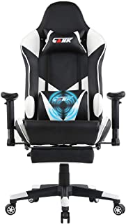 GANK Gaming Chair Large Size Racing Office Computer Chair High Back PU Leather Swivel Chair with Adjustable Massage Lumbar Support and Footrest (White)