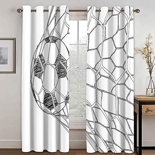 QGWMCD Verdunkelungsvorhang Weißer schwarzer Fußball Lichtundurchlässige Vorhang mit Ösen für Schlafzimmer & Wohnzimmer Geräuschreduzierung 110x215cm x2
