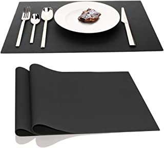 iPhox Black Placemat Placemats, Set of 2 17.7x12.6 Inches Kitchen Table Mats, Heat Resistant Washable Non-Slip Insulation Place Mat for Kitchen Dining Table Home Decoration (Black)