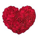 KINGROSE Faite à la Main 3D Rose Fleurs Décoratif Coeur Forme Coussin Laine Coton Toile Oreiller Cadeaux Maison Lit Salon...
