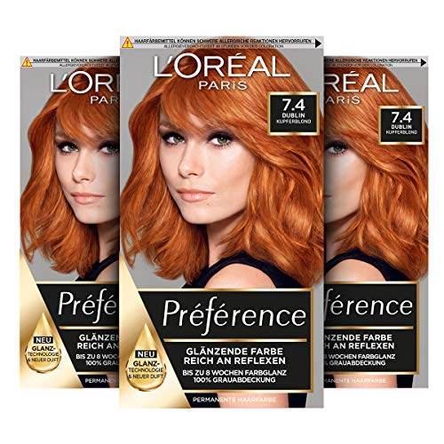 L'Oréal Paris Préférence 7.4 Kupferblond (Dublin) 3er Pack(3 x 213 g)