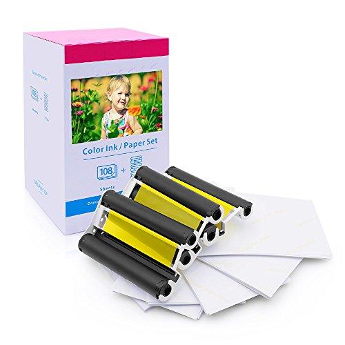 Ersatz Canon Selphy KP-108IN 3115B001(AA) für Selphy CP CP1300 CP1200 CP910 CP790 CP810 Fotodrucker, 108 Blatt Foto papier 10x15 mit 3 Farbkartusche
