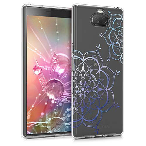kwmobile Hülle kompatibel mit Sony Xperia 10 - Hülle Handy - Handyhülle - Blumen Zwillinge Blau Transparent