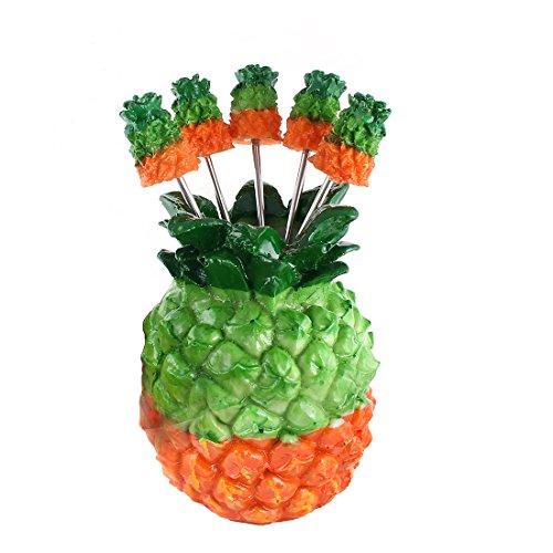 uxcell Plastic Home Pineapple Design Dessert Appetiser Snack Fruit Vegetable Fork Holder Set