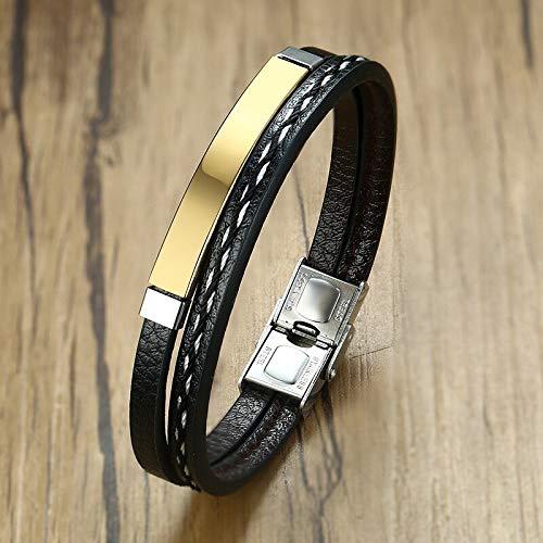DSNSNSSL Gratis Graveren Lederen Armband Voor Mannen Vrouw Hand Bedel Sieraden Handgemaakte Gift Voor Koele Jongens Man 7.68 Inch
