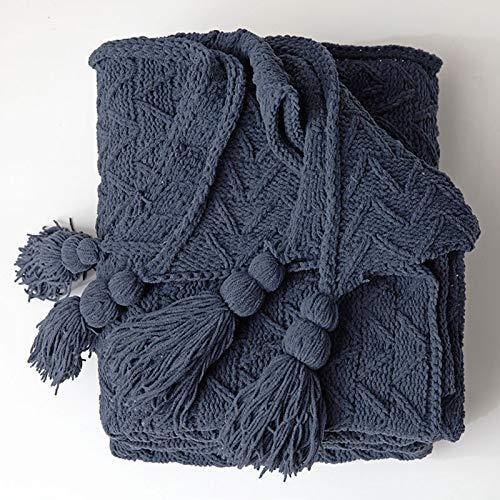 SYLTL Manta Tejida 100% algodón, Simplicidad Moderna Espina de Pescado Tejido Manta de Punto Puro algodón(130 * 160CM),Azul