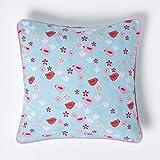 Homescapes Baumwoll-Kissenhülle mit Vogel- und Blumen-Muster, Zierkissenbezug 45 x 45 cm,...